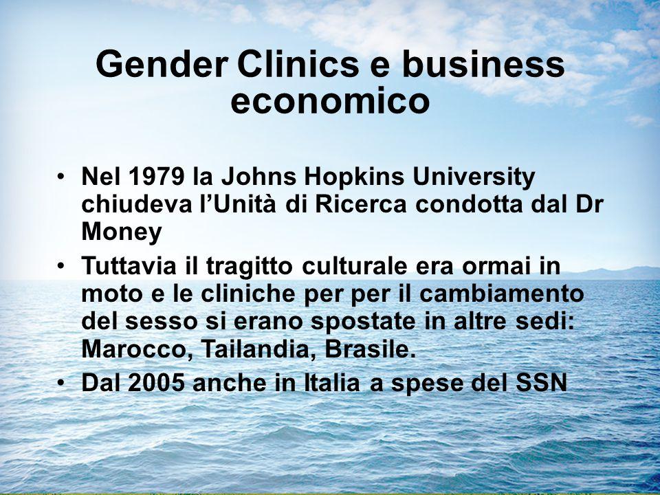 Gender Clinics e business economico Nel 1979 la Johns Hopkins University chiudeva l'Unità di Ricerca condotta dal Dr Money Tuttavia il tragitto culturale era ormai in moto e le cliniche per per il cambiamento del sesso si erano spostate in altre sedi: Marocco, Tailandia, Brasile.