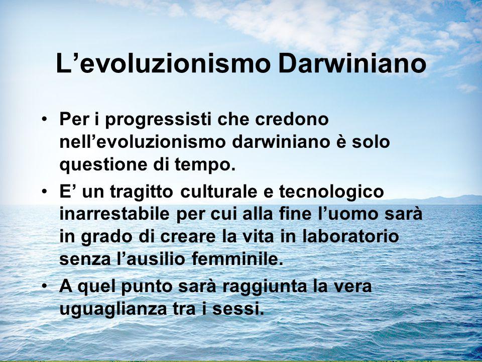 L'evoluzionismo Darwiniano Per i progressisti che credono nell'evoluzionismo darwiniano è solo questione di tempo.