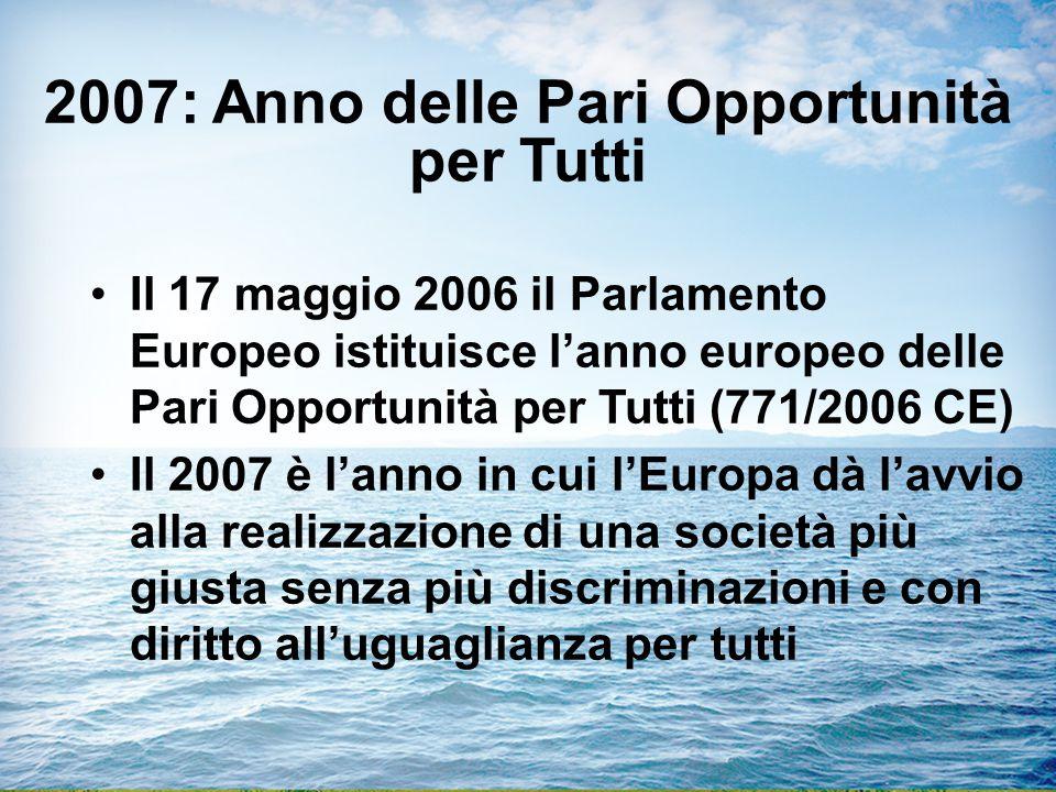 2007: Anno delle Pari Opportunità per Tutti Il 17 maggio 2006 il Parlamento Europeo istituisce l'anno europeo delle Pari Opportunità per Tutti (771/2006 CE) Il 2007 è l'anno in cui l'Europa dà l'avvio alla realizzazione di una società più giusta senza più discriminazioni e con diritto all'uguaglianza per tutti