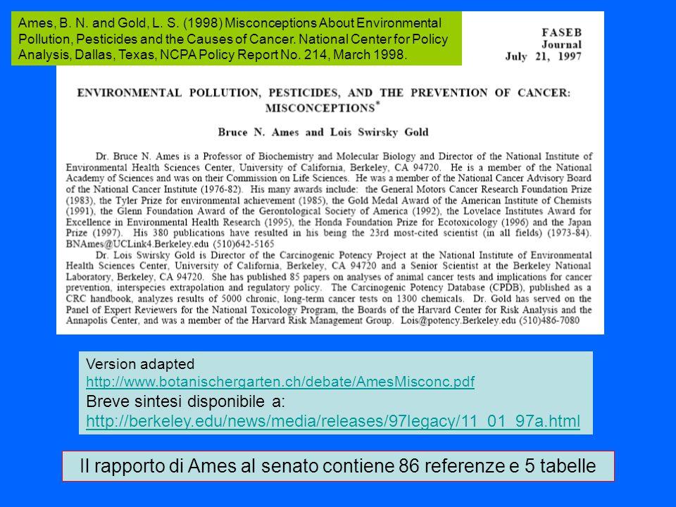 Il rapporto di Ames al senato contiene 86 referenze e 5 tabelle Version adapted http://www.botanischergarten.ch/debate/AmesMisconc.pdf Breve sintesi disponibile a: http://berkeley.edu/news/media/releases/97legacy/11_01_97a.html Ames, B.