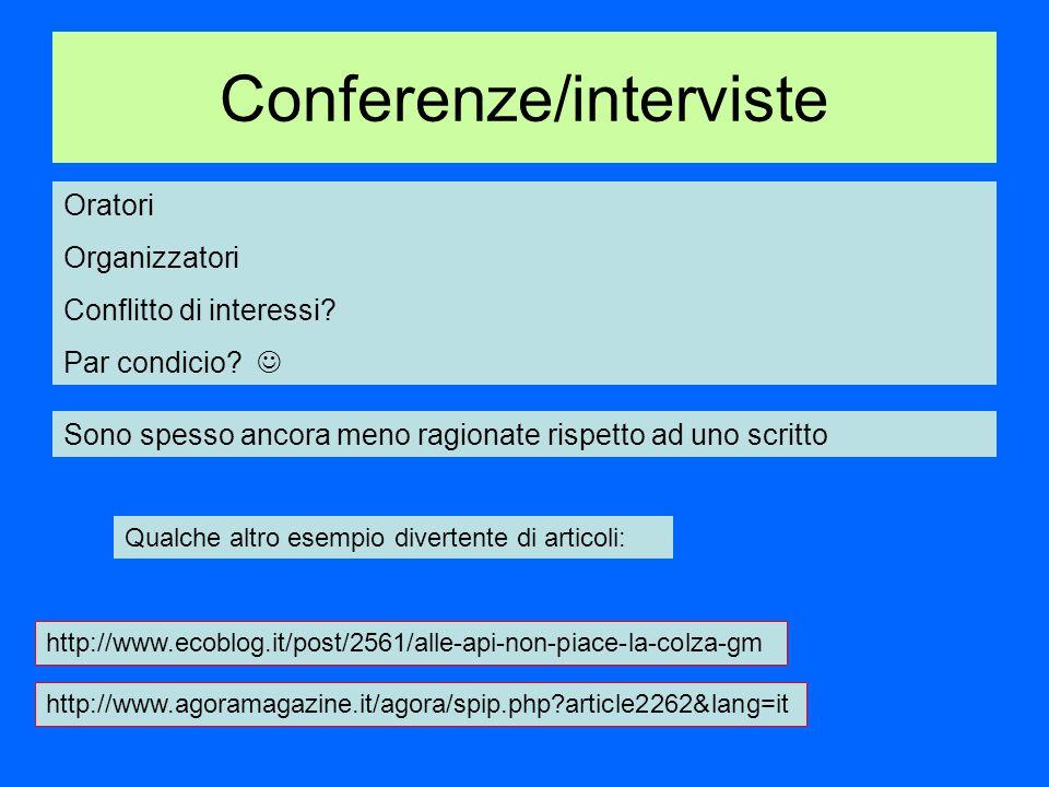 Conferenze/interviste Oratori Organizzatori Conflitto di interessi.