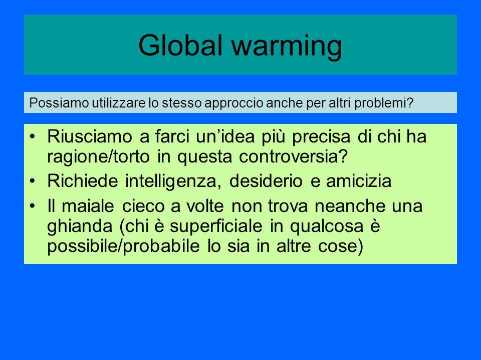 Global warming Riusciamo a farci un'idea più precisa di chi ha ragione/torto in questa controversia.