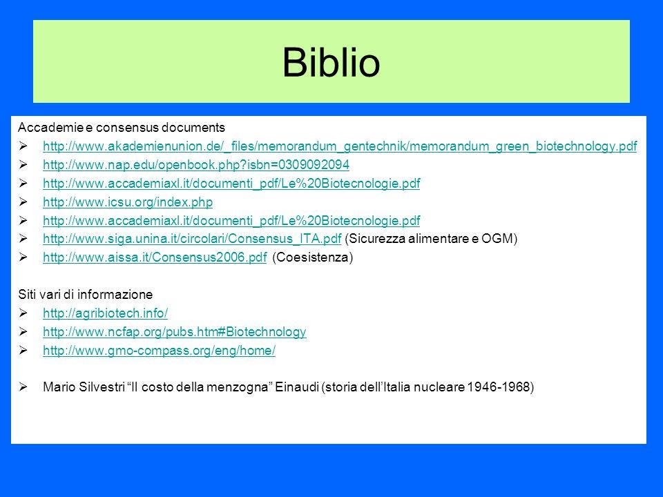 Biblio Accademie e consensus documents  http://www.akademienunion.de/_files/memorandum_gentechnik/memorandum_green_biotechnology.pdf http://www.akademienunion.de/_files/memorandum_gentechnik/memorandum_green_biotechnology.pdf  http://www.nap.edu/openbook.php isbn=0309092094 http://www.nap.edu/openbook.php isbn=0309092094  http://www.accademiaxl.it/documenti_pdf/Le%20Biotecnologie.pdf http://www.accademiaxl.it/documenti_pdf/Le%20Biotecnologie.pdf  http://www.icsu.org/index.php http://www.icsu.org/index.php  http://www.accademiaxl.it/documenti_pdf/Le%20Biotecnologie.pdf http://www.accademiaxl.it/documenti_pdf/Le%20Biotecnologie.pdf  http://www.siga.unina.it/circolari/Consensus_ITA.pdf (Sicurezza alimentare e OGM) http://www.siga.unina.it/circolari/Consensus_ITA.pdf  http://www.aissa.it/Consensus2006.pdf (Coesistenza) http://www.aissa.it/Consensus2006.pdf Siti vari di informazione  http://agribiotech.info/ http://agribiotech.info/  http://www.ncfap.org/pubs.htm#Biotechnology http://www.ncfap.org/pubs.htm#Biotechnology  http://www.gmo-compass.org/eng/home/ http://www.gmo-compass.org/eng/home/  Mario Silvestri Il costo della menzogna Einaudi (storia dell'Italia nucleare 1946-1968)