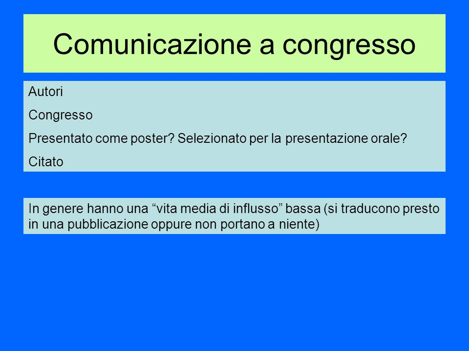 """Comunicazione a congresso Autori Congresso Presentato come poster? Selezionato per la presentazione orale? Citato In genere hanno una """"vita media di i"""