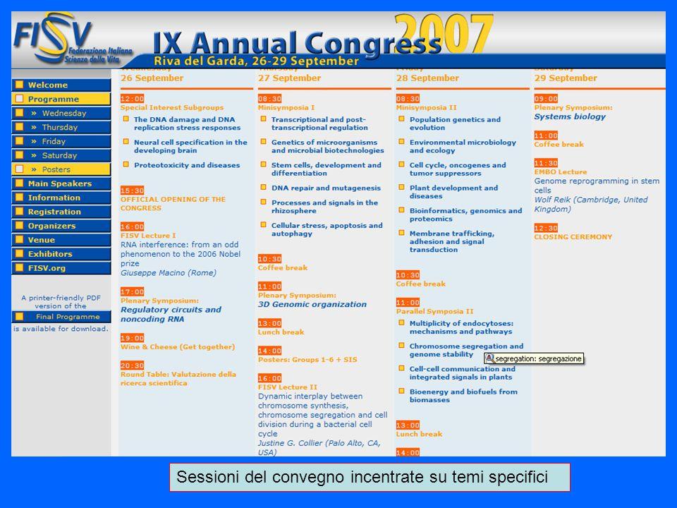 Sessioni del convegno incentrate su temi specifici