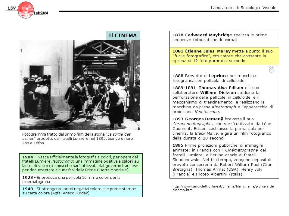 """Laboratorio di Sociologia Visuale Il CINEMA Fotogramma tratto dal primo film della storia """"La sortie des usines"""" prodotto dai fratelli Lumiere nel 189"""