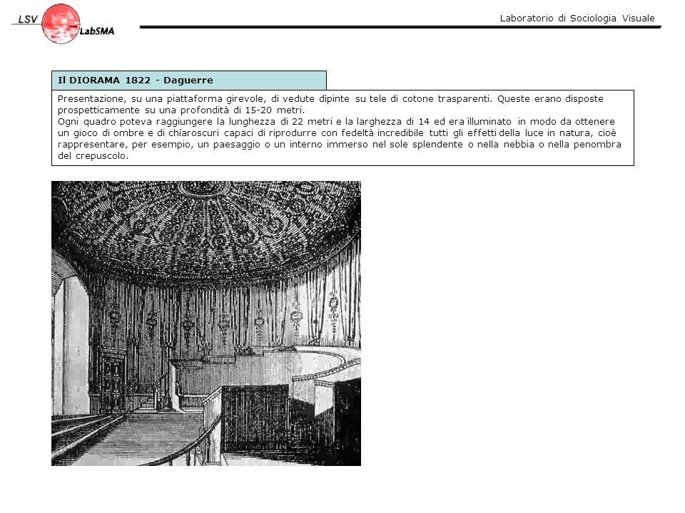 Laboratorio di Sociologia Visuale Il DIORAMA 1822 - Daguerre Presentazione, su una piattaforma girevole, di vedute dìpinte su tele di cotone trasparen