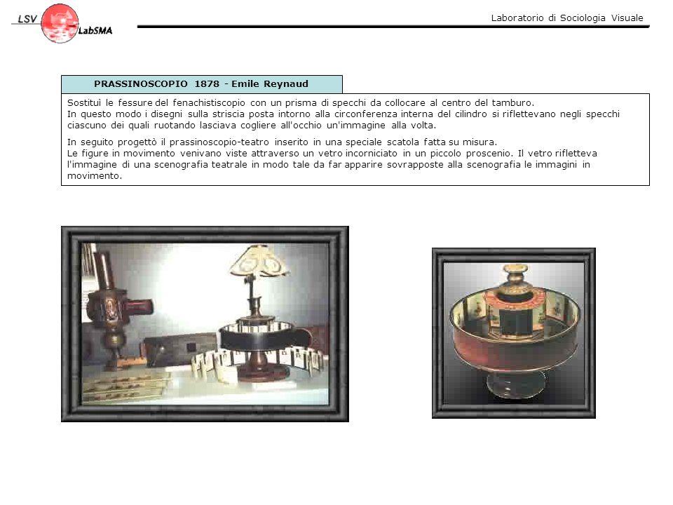 Laboratorio di Sociologia Visuale PRASSINOSCOPIO 1878 - Emile Reynaud Sostituì le fessure del fenachistiscopio con un prisma di specchi da collocare a