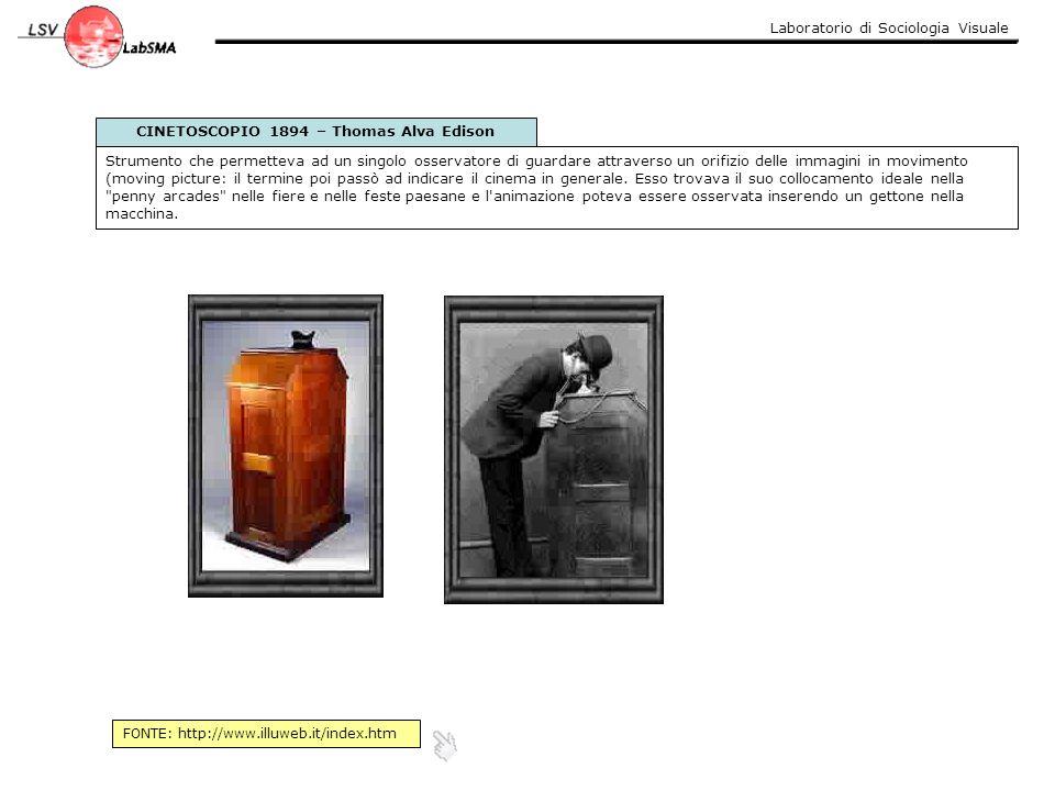 Laboratorio di Sociologia Visuale CINETOSCOPIO 1894 – Thomas Alva Edison Strumento che permetteva ad un singolo osservatore di guardare attraverso un
