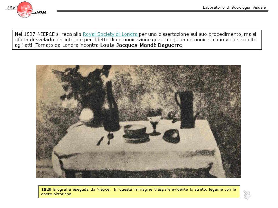 Dagherrotipo del 1837: è probabilmente la prima buona immagine ottenuta da Daguerre Daguerre utilizzò una lastra di rame con sopra applicata una sottile foglia di argento lucidato, che posta sopra a vapori di iodio reagiva formando ioduro d argento.