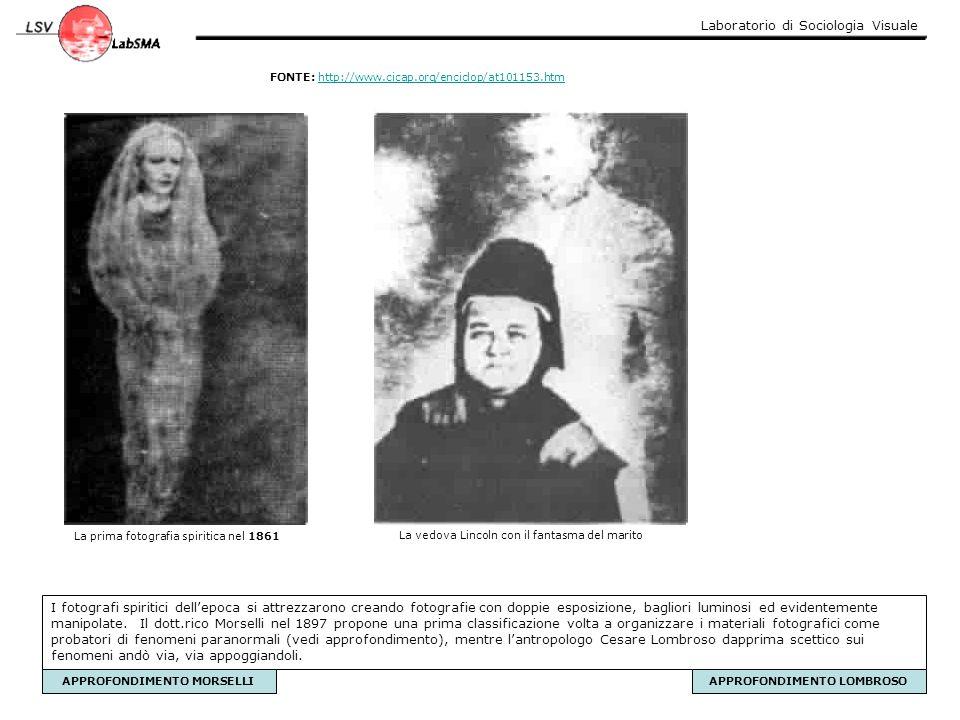 Laboratorio di Sociologia Visuale La prima fotografia spiritica nel 1861 La vedova Lincoln con il fantasma del marito I fotografi spiritici dell'epoca