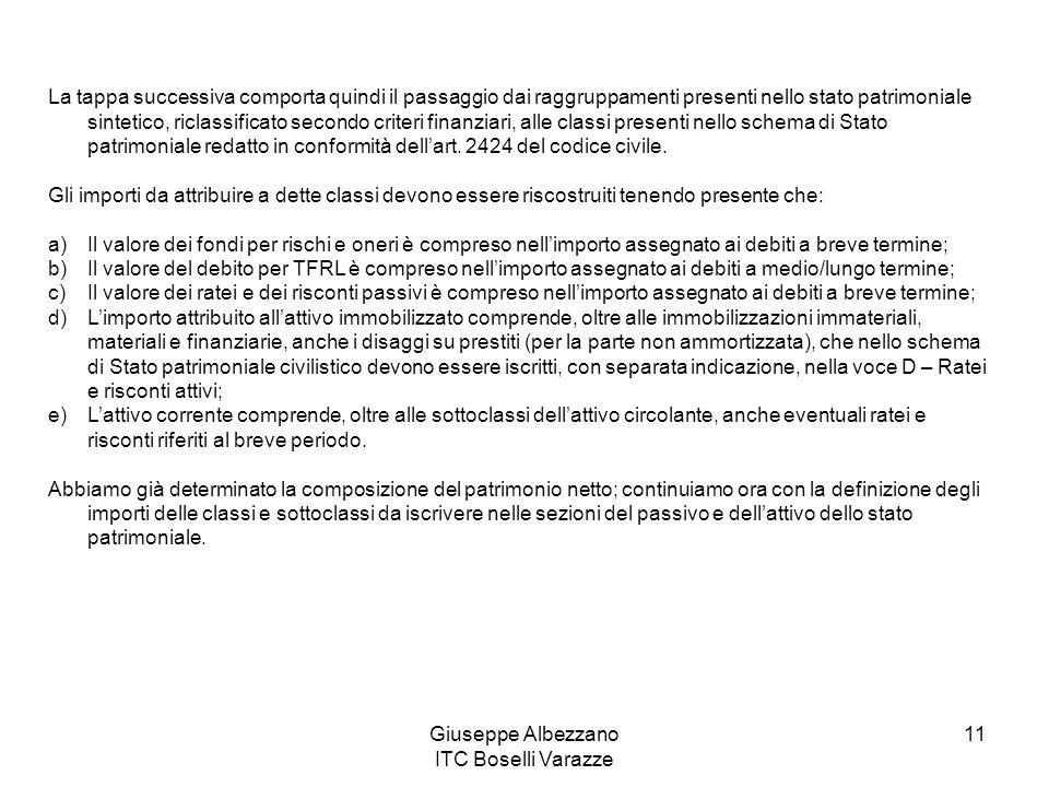 Giuseppe Albezzano ITC Boselli Varazze 11 La tappa successiva comporta quindi il passaggio dai raggruppamenti presenti nello stato patrimoniale sintet