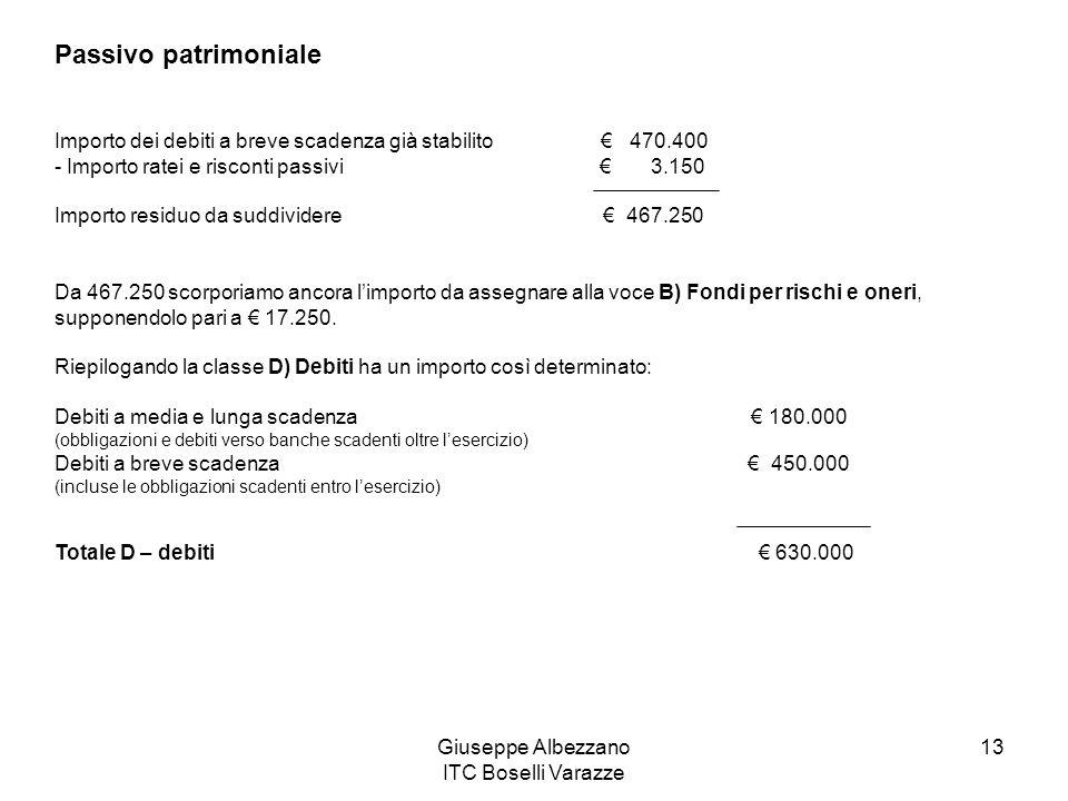 Giuseppe Albezzano ITC Boselli Varazze 13 Passivo patrimoniale Importo dei debiti a breve scadenza già stabilito € 470.400 - Importo ratei e risconti