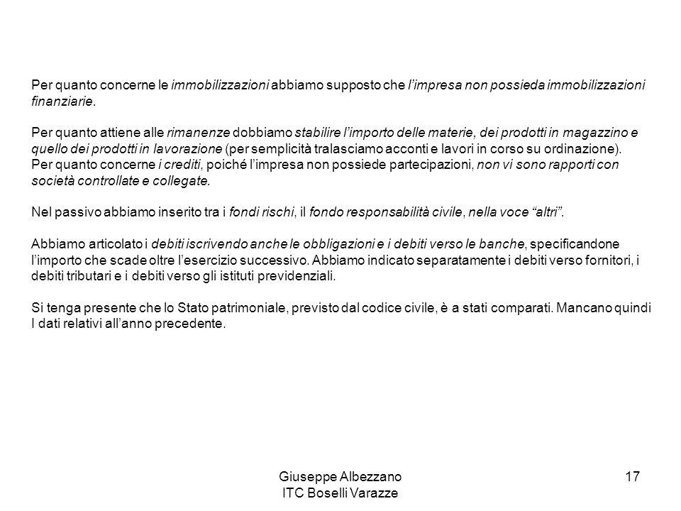 Giuseppe Albezzano ITC Boselli Varazze 17 Per quanto concerne le immobilizzazioni abbiamo supposto che l'impresa non possieda immobilizzazioni finanzi
