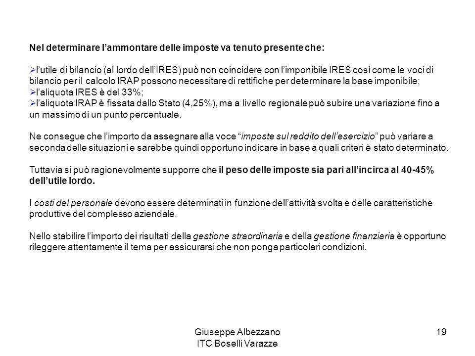 Giuseppe Albezzano ITC Boselli Varazze 19 Nel determinare l'ammontare delle imposte va tenuto presente che:  l'utile di bilancio (al lordo dell'IRES)