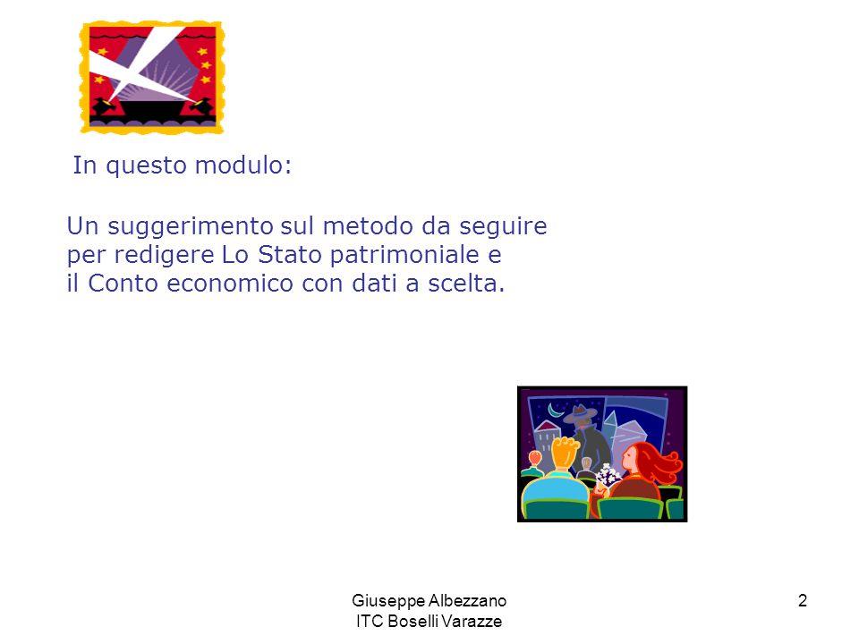Giuseppe Albezzano ITC Boselli Varazze 2 Un suggerimento sul metodo da seguire per redigere Lo Stato patrimoniale e il Conto economico con dati a scel
