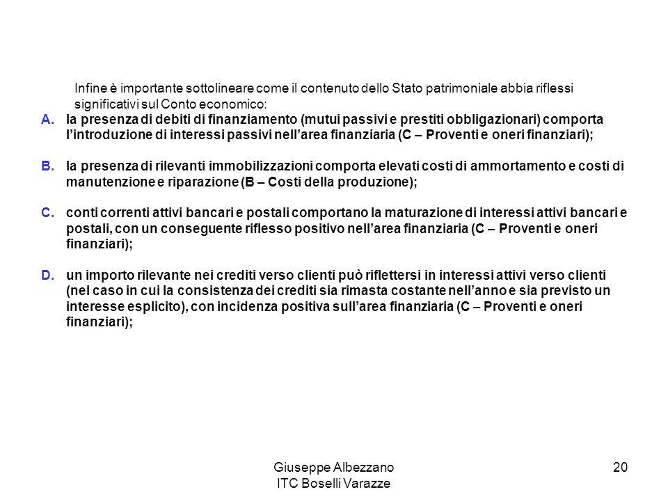 Giuseppe Albezzano ITC Boselli Varazze 20 Infine è importante sottolineare come il contenuto dello Stato patrimoniale abbia riflessi significativi sul