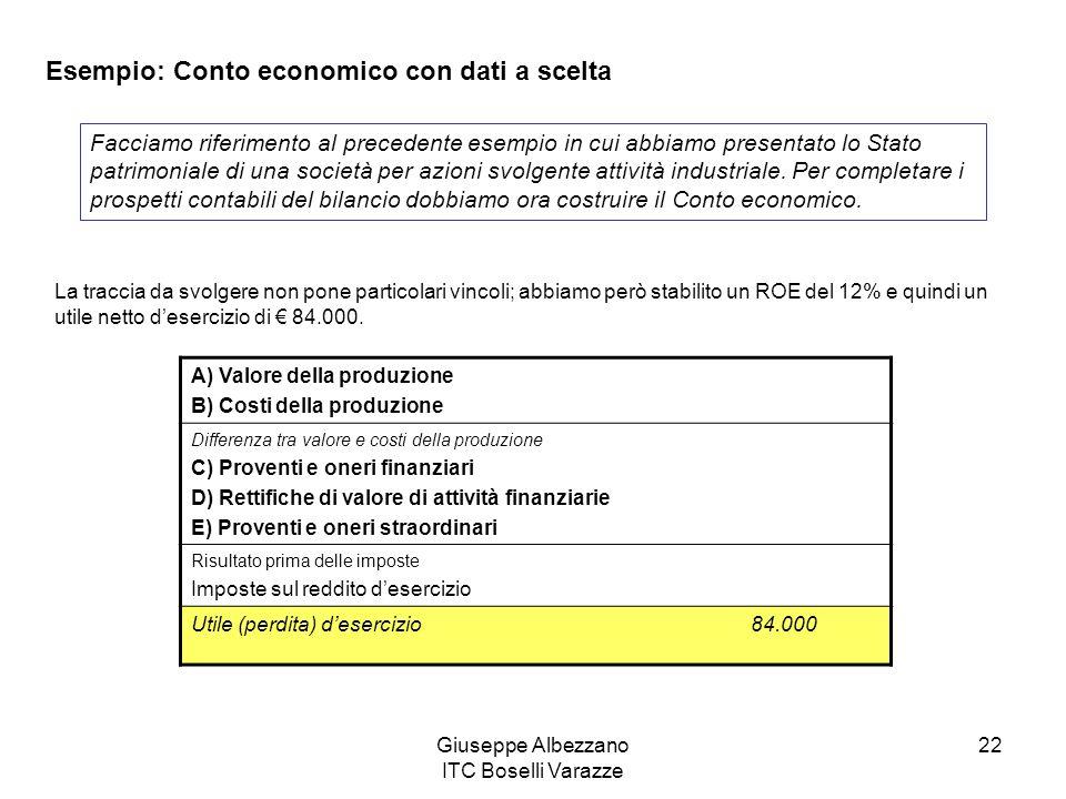 Giuseppe Albezzano ITC Boselli Varazze 22 Esempio: Conto economico con dati a scelta Facciamo riferimento al precedente esempio in cui abbiamo present