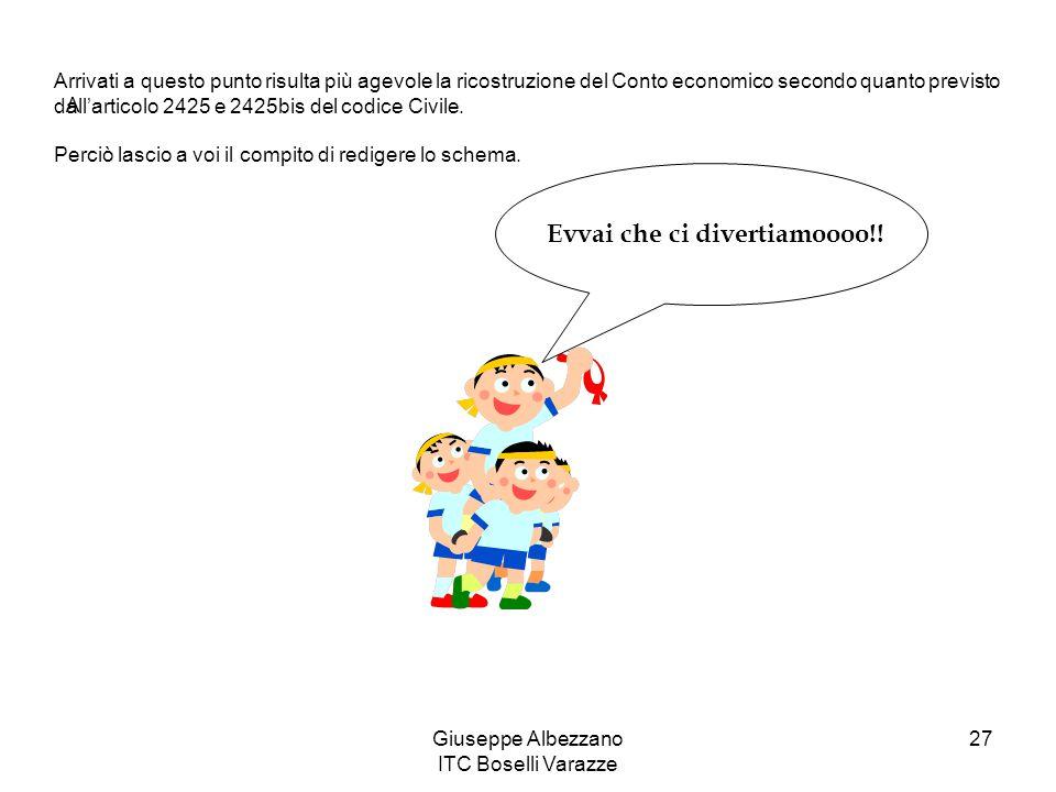 Giuseppe Albezzano ITC Boselli Varazze 27 A Arrivati a questo punto risulta più agevole la ricostruzione del Conto economico secondo quanto previsto d