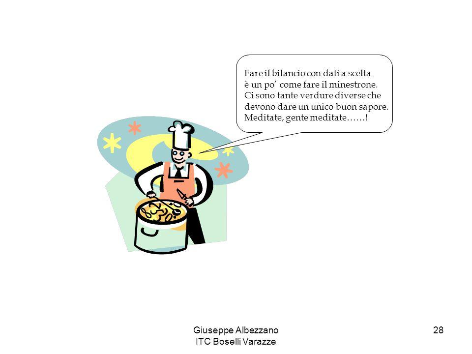 Giuseppe Albezzano ITC Boselli Varazze 28 Fare il bilancio con dati a scelta è un po' come fare il minestrone. Ci sono tante verdure diverse che devon
