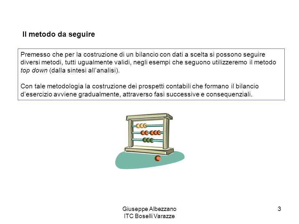 Giuseppe Albezzano ITC Boselli Varazze 3 Il metodo da seguire Premesso che per la costruzione di un bilancio con dati a scelta si possono seguire dive