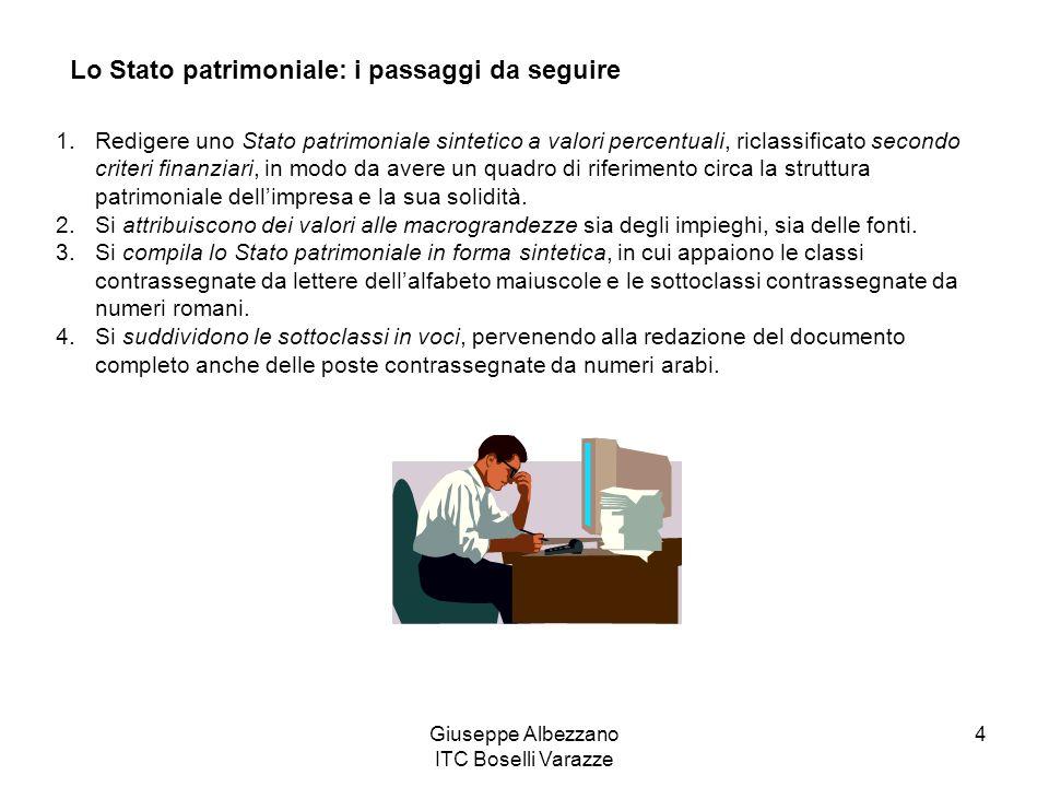 Giuseppe Albezzano ITC Boselli Varazze 4 Lo Stato patrimoniale: i passaggi da seguire 1.Redigere uno Stato patrimoniale sintetico a valori percentuali