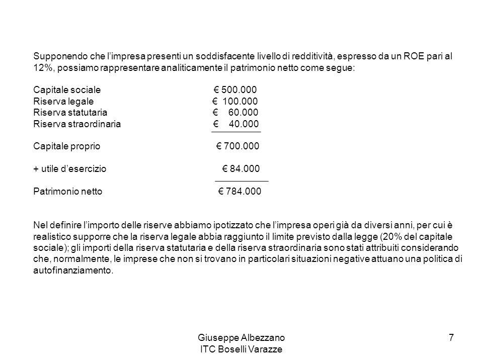 Giuseppe Albezzano ITC Boselli Varazze 7 Supponendo che l'impresa presenti un soddisfacente livello di redditività, espresso da un ROE pari al 12%, po