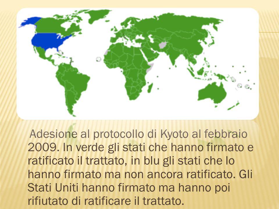 Adesione al protocollo di Kyoto al febbraio 2009. In verde gli stati che hanno firmato e ratificato il trattato, in blu gli stati che lo hanno firmato