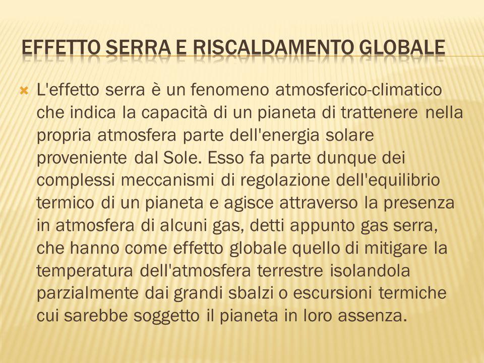  L'effetto serra è un fenomeno atmosferico-climatico che indica la capacità di un pianeta di trattenere nella propria atmosfera parte dell'energia so