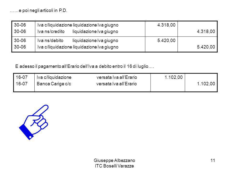 Giuseppe Albezzano ITC Boselli Varazze 11 ……e poi negli articoli in P.D. 30-06 Iva c/liquidazione liquidazione Iva giugno Iva ns/credito liquidazione