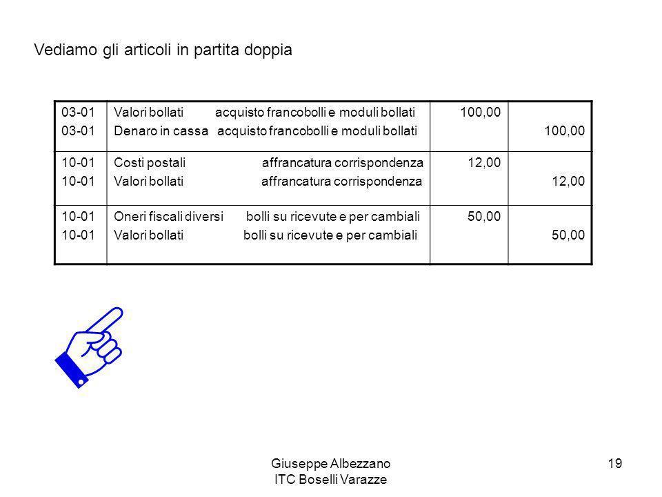 Giuseppe Albezzano ITC Boselli Varazze 19 Vediamo gli articoli in partita doppia 03-01 Valori bollati acquisto francobolli e moduli bollati Denaro in