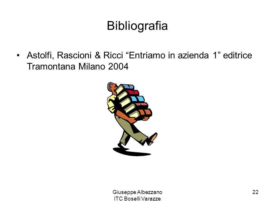 """Giuseppe Albezzano ITC Boselli Varazze 22 Bibliografia Astolfi, Rascioni & Ricci """"Entriamo in azienda 1"""" editrice Tramontana Milano 2004"""