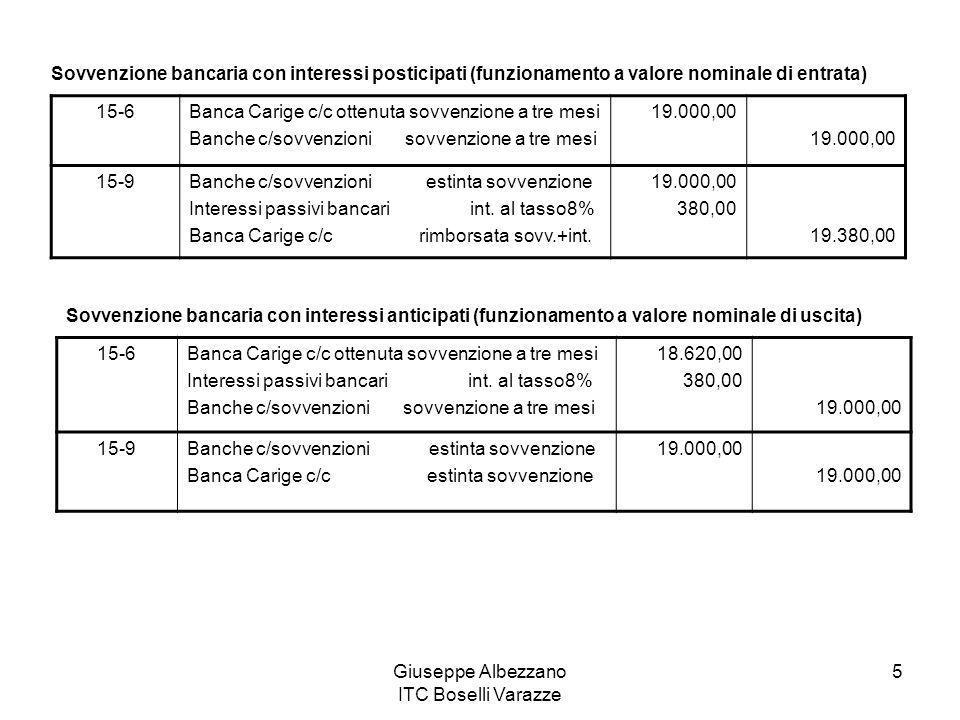 Giuseppe Albezzano ITC Boselli Varazze 5 Sovvenzione bancaria con interessi posticipati (funzionamento a valore nominale di entrata) 15-6Banca Carige