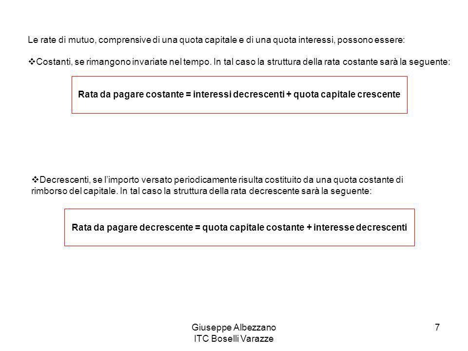 Giuseppe Albezzano ITC Boselli Varazze 7 Le rate di mutuo, comprensive di una quota capitale e di una quota interessi, possono essere:  Costanti, se