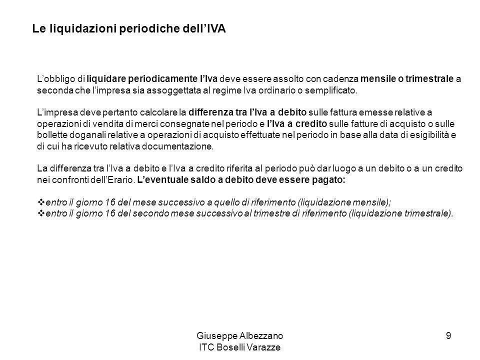 Giuseppe Albezzano ITC Boselli Varazze 9 Le liquidazioni periodiche dell'IVA L'obbligo di liquidare periodicamente l'Iva deve essere assolto con caden
