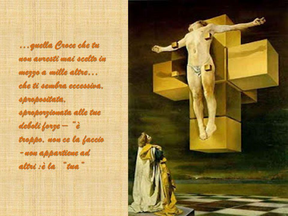 …quella Croce che tu non avresti mai scelto in mezzo a mille altre… che ti sembra eccessiva, spropositata, sproporzionata alle tue deboli forze – è troppo, non ce la faccio -non appartiene ad altri :è la tua