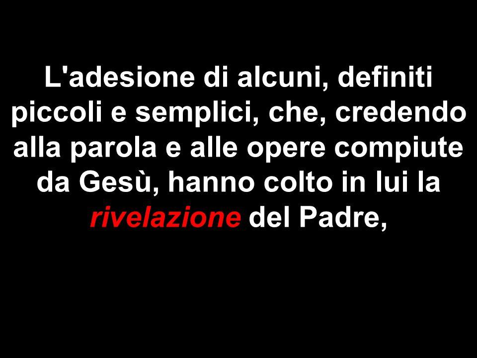 L'adesione di alcuni, definiti piccoli e semplici, che, credendo alla parola e alle opere compiute da Gesù, hanno colto in lui la rivelazione del Padr