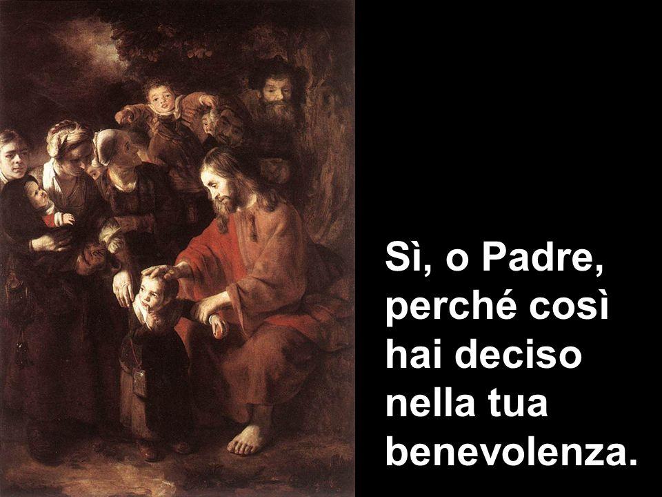 Sì, o Padre, perché così hai deciso nella tua benevolenza.
