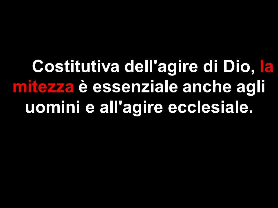 Costitutiva dell'agire di Dio, la mitezza è essenziale anche agli uomini e all'agire ecclesiale.