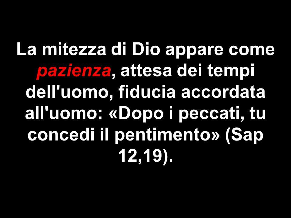 La mitezza di Dio appare come pazienza, attesa dei tempi dell uomo, fiducia accordata all uomo: «Dopo i peccati, tu concedi il pentimento» (Sap 12,19).