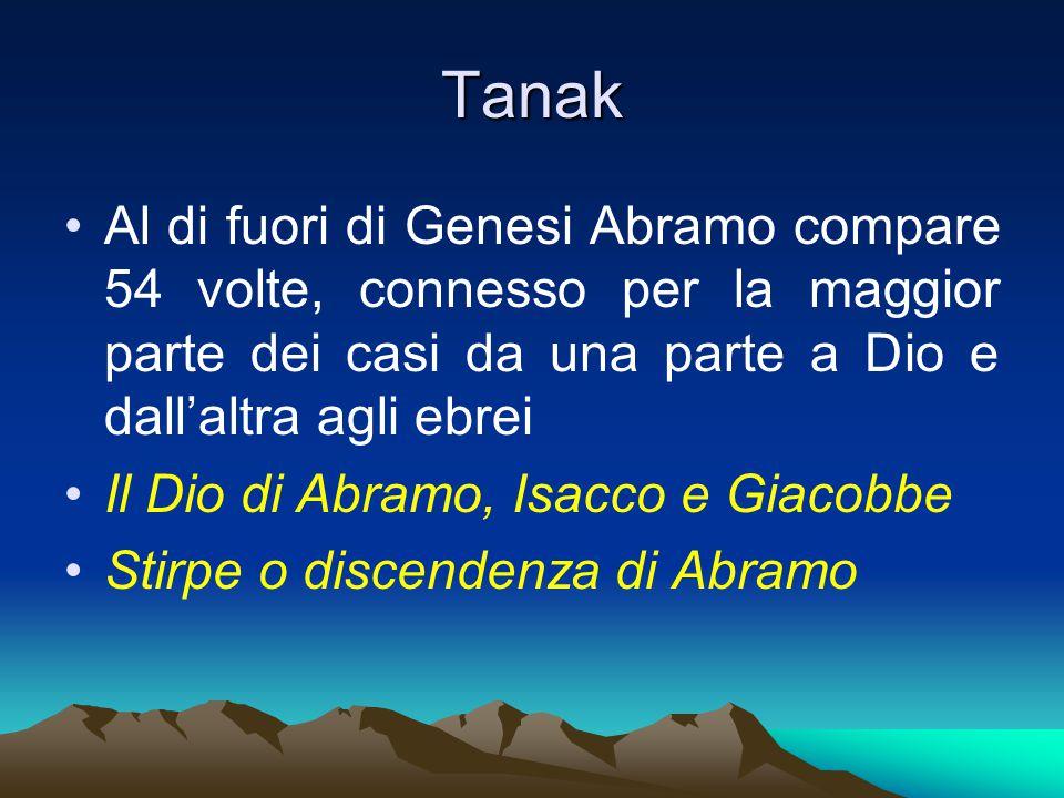 Tanak Al di fuori di Genesi Abramo compare 54 volte, connesso per la maggior parte dei casi da una parte a Dio e dall'altra agli ebrei Il Dio di Abramo, Isacco e Giacobbe Stirpe o discendenza di Abramo