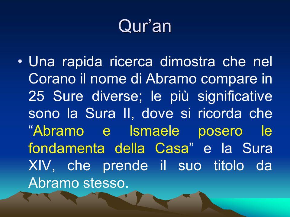 Qur'an Una rapida ricerca dimostra che nel Corano il nome di Abramo compare in 25 Sure diverse; le più significative sono la Sura II, dove si ricorda che Abramo e Ismaele posero le fondamenta della Casa e la Sura XIV, che prende il suo titolo da Abramo stesso.