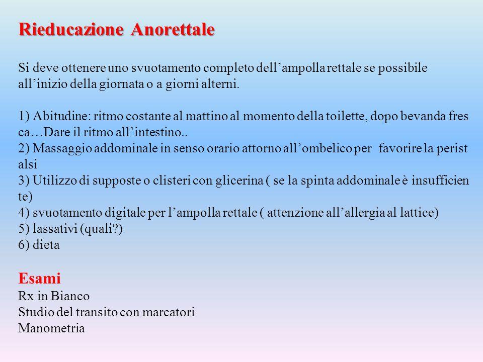 Rieducazione Anorettale Rieducazione Anorettale Si deve ottenere uno svuotamento completo dell'ampolla rettale se possibile all'inizio della giornata