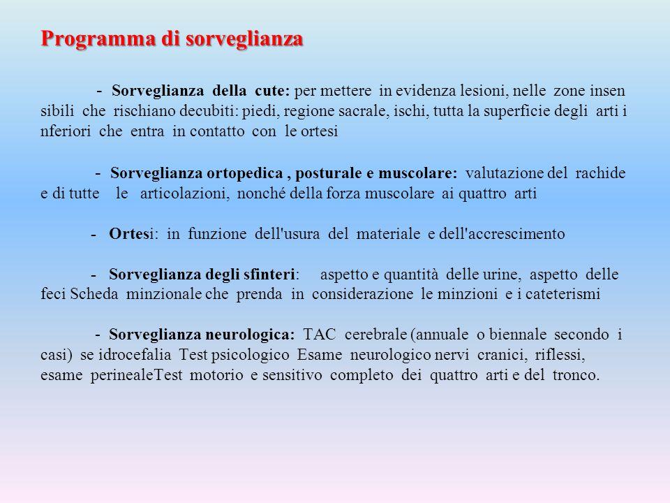 Programma di sorveglianza Programma di sorveglianza - Sorveglianza della cute: per mettere in evidenza lesioni, nelle zone insen sibili che rischiano
