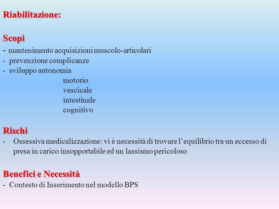 Riabilitazione: Scopi - mantenimento acquisizioni muscolo-articolari - prevenzione complicanze - sviluppo autonomia motorio vescicale intestinale cogn