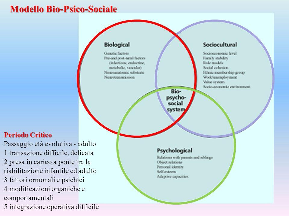 Modello Bio-Psico-Sociale Periodo Critico Passaggio età evolutiva - adulto 1 transazione difficile, delicata 2 presa in carico a ponte tra la riabilit