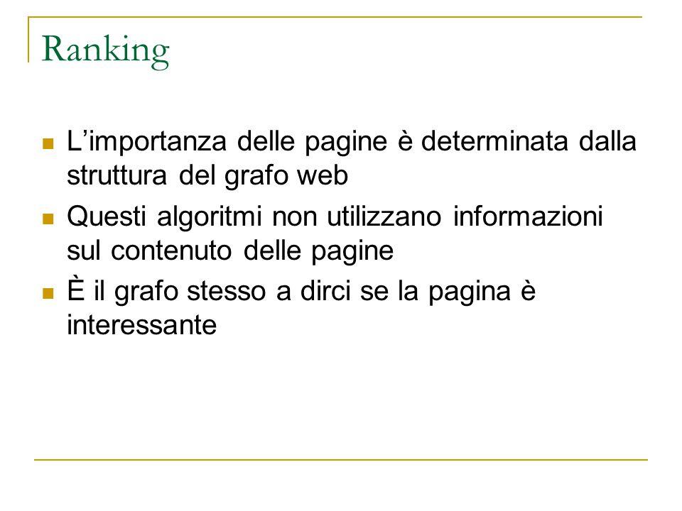 Ranking L'importanza delle pagine è determinata dalla struttura del grafo web Questi algoritmi non utilizzano informazioni sul contenuto delle pagine È il grafo stesso a dirci se la pagina è interessante