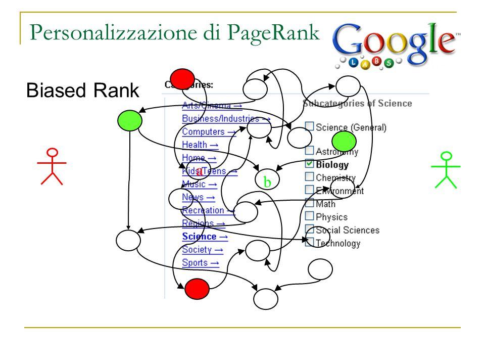 Personalizzazione di PageRank Biased Rank a b [Hawelivala 02]
