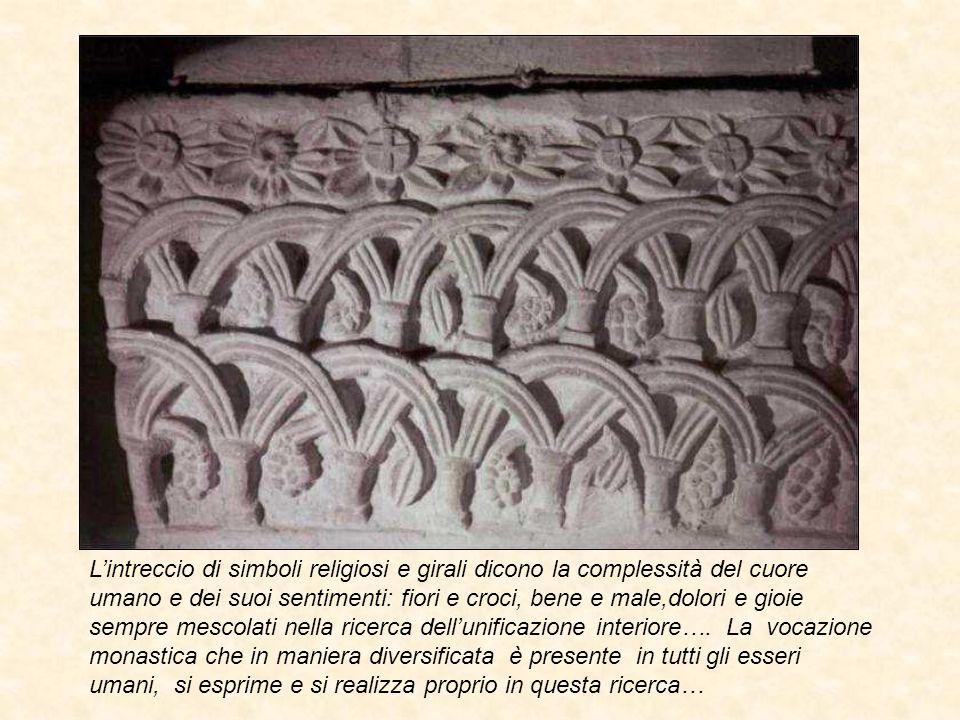 L'intreccio di simboli religiosi e girali dicono la complessità del cuore umano e dei suoi sentimenti: fiori e croci, bene e male,dolori e gioie sempr