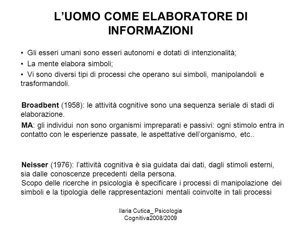 Ilaria Cutica_ Psicologia Cognitiva2008/2009 L'UOMO COME ELABORATORE DI INFORMAZIONI Gli esseri umani sono esseri autonomi e dotati di intenzionalità;